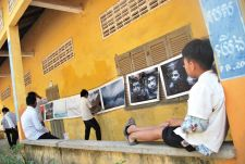 Photos taken for the 'water art' project were put on display in the villages.